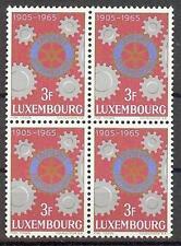 Luxembourg 1965 Sc# 417 set  Rotary emblem Cogwheels  block 4 MNH (center- gold)