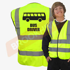 HI VIZ VIS BUS DRIVER KIDS VEST FANCY DRESS JOKE CUSTOM WAISTCOAT JACKET CHILD