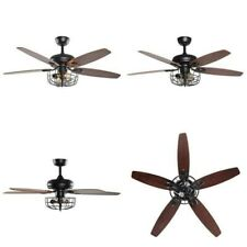 Parrot Uncle Industrial 52 in LED Ceiling Fan in Black with Remote Control