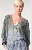 CAbi Size Small Green Blue Arts Tunic Kimono Sleeve Top, Style #731
