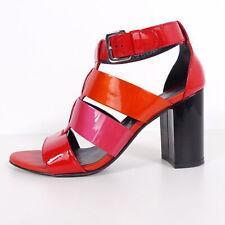 HOGAN Riemen Sandalette EU 37 Rot Damen Lack High Heel Schuhe Echt Leder