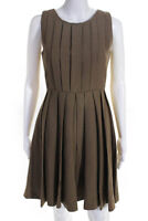 J Crew Womens Wool Pleated Sleeveless A-Line Dress Brown Size 00