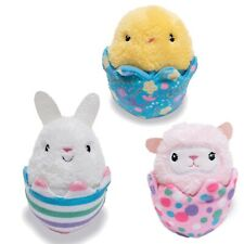 Cuddle Barn E0 Sing Happy Easter Hatchies Squeezers 4in Bunny Chick Lamb Cb28170