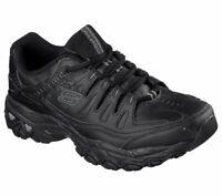Black Skechers Shoes Mens Foam Sport Leather Lace Up 50127 Train Comfort Sneaker