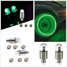 4Pcs Car SUV Wheel Tyre Tire Air Valve Stem Caps Decoration Light Green LED Lamp