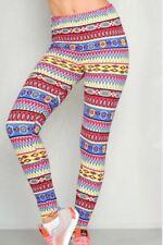 Womens Geo Tribal Multi Color Leggings, NWT, One Size (M)