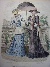"""47/ GRAVURE DE MODE """" Moniteur de la Mode Paris 1891 """".   Grand format 36x26"""