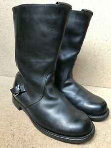 RARE Sheep VINTAGE Black Leather  Engineer Motorcycle Military Sz 44 | US 11