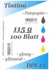 TINTINO Fotopapier 100 Blatt DIN A4 (ca. 210-297mm) 115g/m² glossy extra dünn