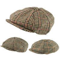 Classic English Country Tweed 8 Panel Gatsby Cap Wool Newsboy Baker Boy Hat