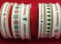 Bertie's Bows Christmas Ribbon on 3m & 25m Rolls