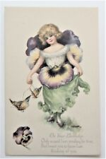 A/S Dulk Pretty GIRL as Pansy Fantasy Butterflies Gibson Lines Postcard