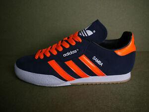 Adidas Samba Super Blue Suede CUSTOM Fluorescent Orange Stripes & Laces (UK10)