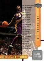 KOBE BRYANT 2001-02 Upper Deck Checklist #404  LA Lakers ID:1666