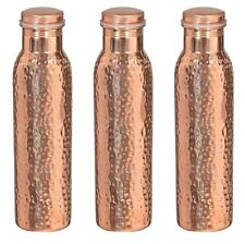 Indian 100% Copper Water Bottle 1000 ML Storage Set of 3 Ayurveda Benefit Health