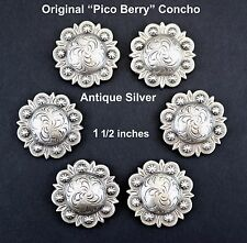 LOT OF 6 CONCHOS ANTIQUE SILVER PICO BERRY WESTERN RODEO LEATHER 1 1/2