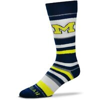 Michigan Wolverines For Bare Feet Women's Soft Stripe Crew-Length Socks