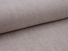 0,5 m  Leinen Baumwolle Stoff, Fischgrät Muster, Naturbeige, Brau, strukturiert
