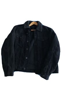 All Black corduroy jacket with Borg Colour