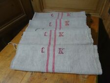 Antique European Feed Sack GRAIN SACK CK Monogram # 10423