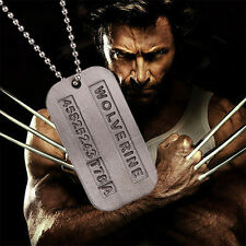 Army Military X-Men Wolverine James Logan Metal Alloy Tag Pendant Necklace Chain