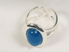 Silver plated oval Blue Onyx Cabochon ring, adjustable. Strength and courage