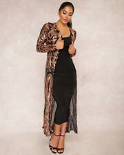 Ladies Women Sequins Sheer Long Cardigan Party Evening Maxi Dress Jacket Coat