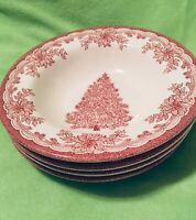 "Set of 4 Staffordshire Engravings Red Yuletide Rimmed Soup 8-1/2"" Bowls NEW"