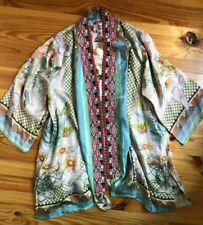 JOHNNY WAS Claret Silk Kimono REVERSIBLE Beaded Asian Floral SMALL $345