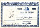 TESSERA - ASSOCIAZIONE NAZIONALE COMBATTENTI E REDUCI - ANNO 1969