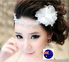 Women Wedding White Flower Bride Races Dance Party Hair head piece Fascinator