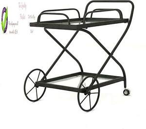 Christopher Knight Home Perley Indoor Traditional Iron Bar Cart With Tempered Gl
