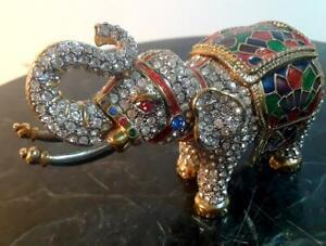 "Rucinni Italy New Elephant Jeweled Trinket Box With SWAROVSKI Crystals - 3 1/2"""
