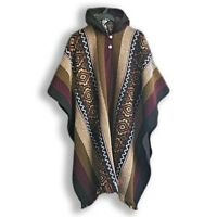 LLAMA WOOL MENS UNISEX SOUTH AMERICAN PONCHO CAPE COAT JACKET BEIGE KHAKI LILAC