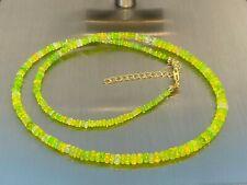 Äthiopischer Opal green fire Kette Collier 925 Silber vergoldet / ca 35 Carat