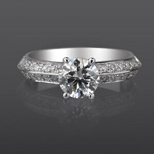 1 1/2 CT SOLITAIRE ACCENTED DIAMOND RING 4 PRONG 18K WHITE GOLD SIZE 5 6 7 8