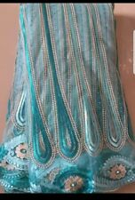 Swiss voile pizzo 100% cotone tessuto tulle africani in colore Blu 5 METRI