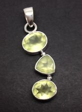 Prehnite Pendant solid Sterling Silver, Triple, New, UK seller. Actual One Shown