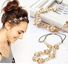Trendy Metal Head Chain Pearl Flower Elastic Hair Band Headband Hair Accessory