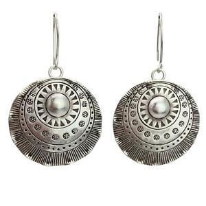 81stgeneration .999 Fine Silver Karen Hill Tribe Disc Tribal Dangle Earrings