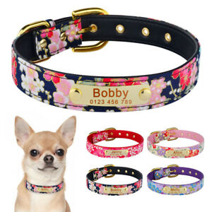Flower Personalised Dog Collar for Small Medium Large Dogs Female Girl Pet Cat