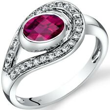 14k White Gold Created Ruby and Diamond Infinity Ring 1 carat