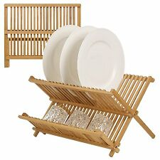 Bamboo Wooden Draining Rack Dish Drainer Plate, Folding Washing Up Counter Sink