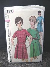 VTG 60s SIMPLICITY 4170 Sewing Pattern Big Box Pleat Skirt Top 3 Views Sz 16