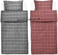 IKEA Fjalltag Duvet Quilt Cover 2pc set Buttons Twin Single Check Red Black Gray