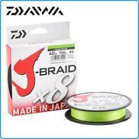 TRECCIATO DAIWA J BRAID X8 0.16mm 300mt 9KG PE1.2 20LB COLORE CHARTREUSE
