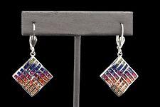 925 Sterling Silver Art Deco MultiColor Rainbow Rhombus Sapphire Dangle Earrings