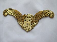 "#2679 6-3/4"" Gold Black Lady Face w/Angel Wings Embroidery Applique Patch"