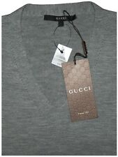 $980 NEW GUCCI CASHMERE WOOL HEATHER GRAY VERY SLIM FIT V NECK SWEATER M/L