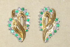 SOLID    14K Gold     EMERALD    Diamond     Earrings